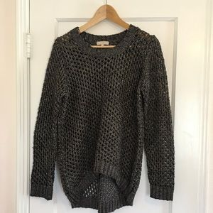 Hi Lo Black and Gold Open Knit sweater